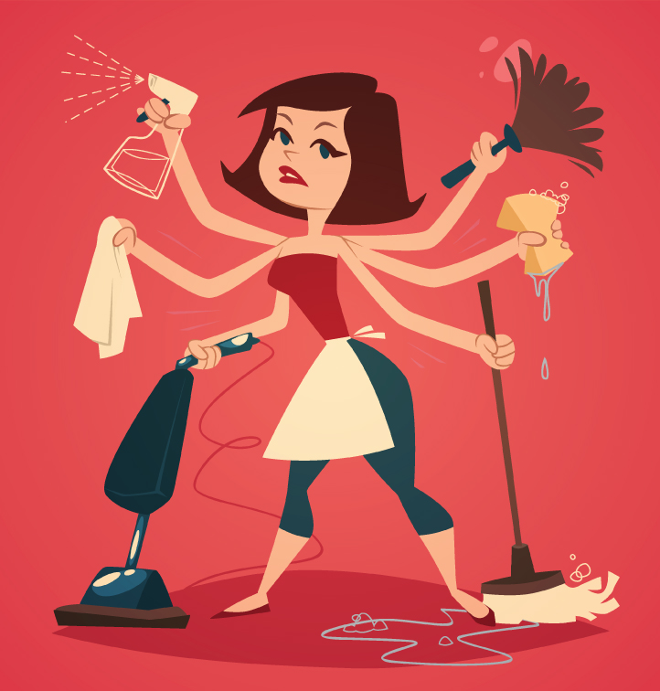 woman spring cleaning