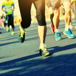 Marathon athletes legs running