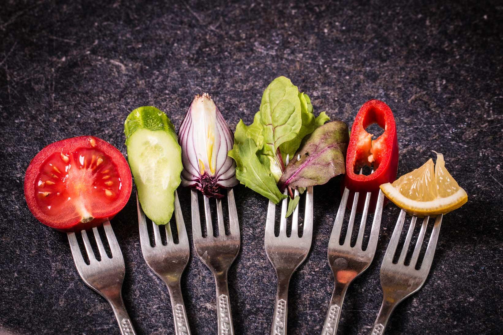 vegetables on forks
