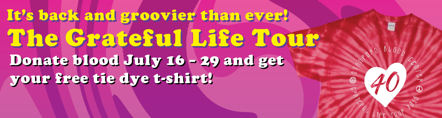 Donate July 16 to 29 and receive a groovy t-shirt