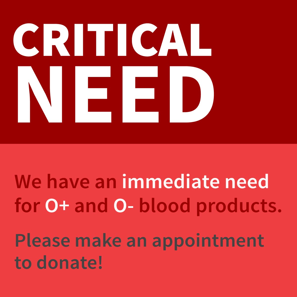 Urgent Need for O- and O+ blood products