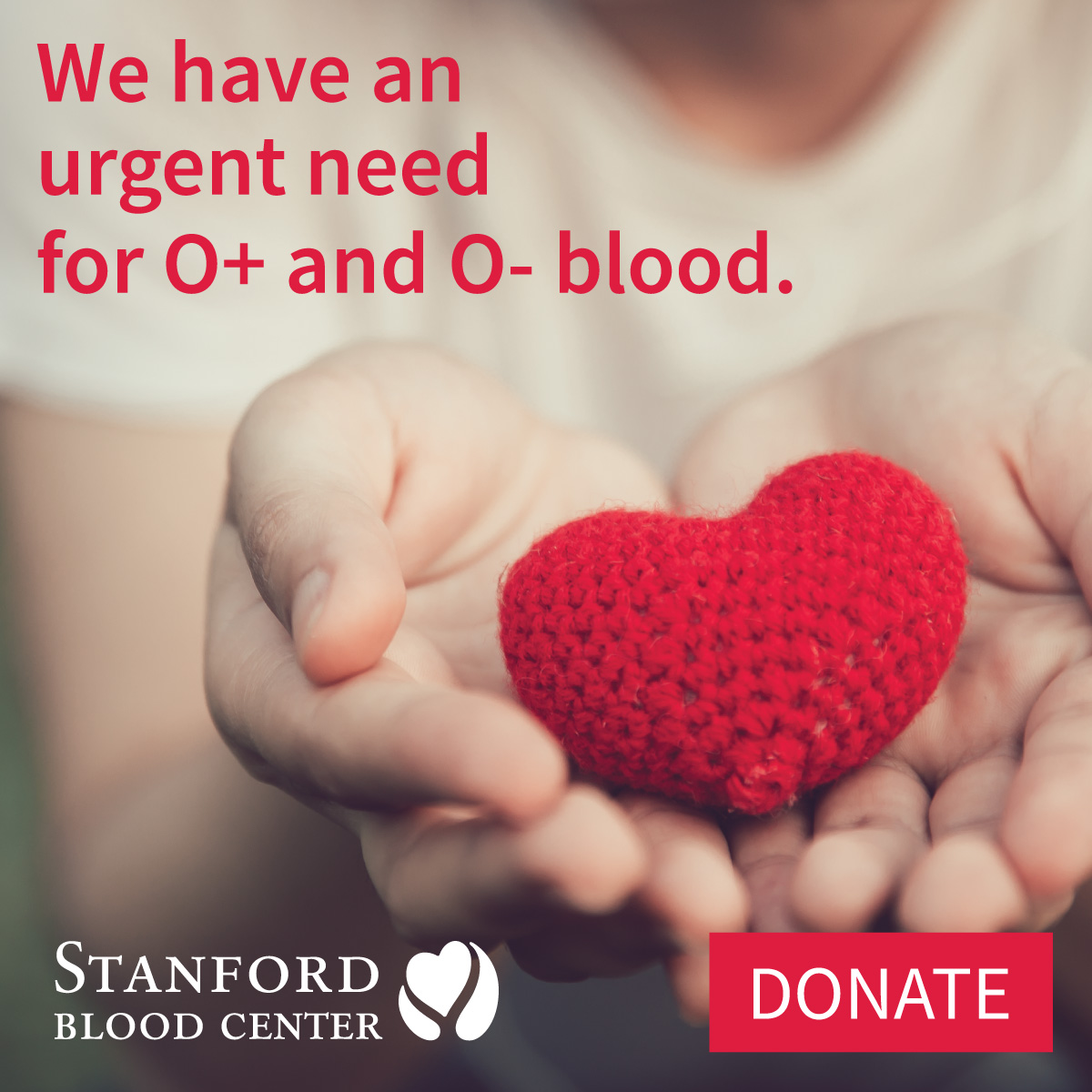Urgent need for O+ and O- blood products