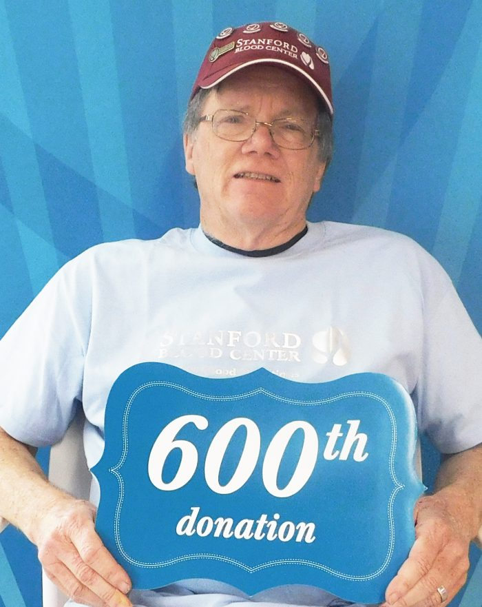 Tom Welch at his 600th donation image