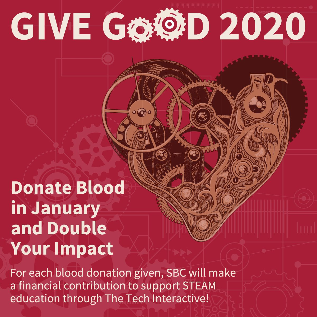 Donate blood in January to support the STEAM education with The Tech