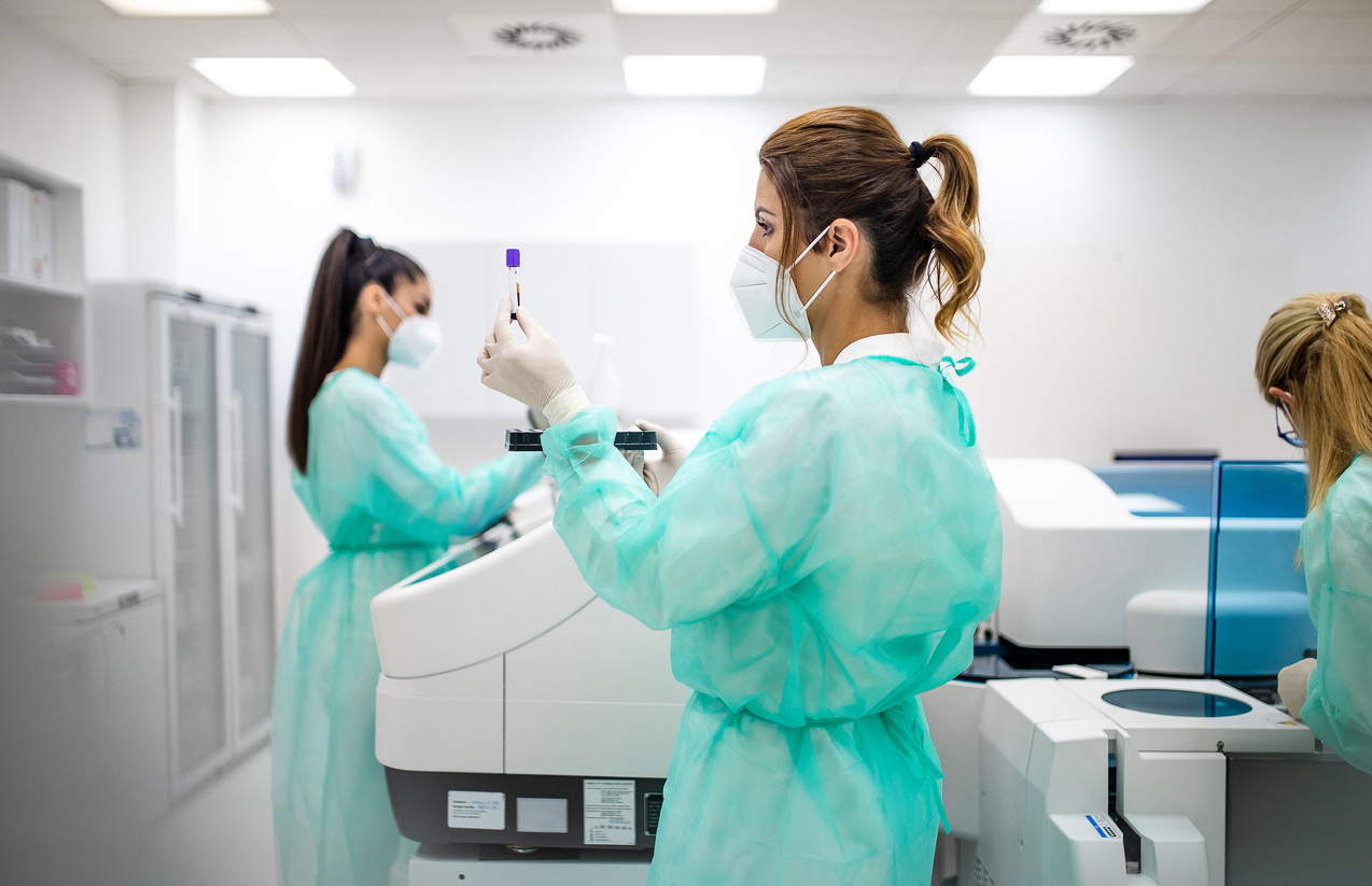 people working in lab