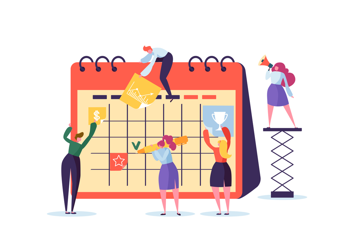 Planning Schedule Concept with Business Characters Working with Planner. Team Work Together. Flat People Teamworking with Timetable. Vector illustration
